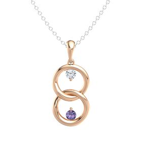 14K Rose Gold Necklace with Diamond & Iolite