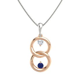 14K Rose Gold Pendant with Diamond and Blue Sapphire