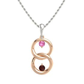 14K Rose Gold Pendant with Pink Tourmaline and Red Garnet