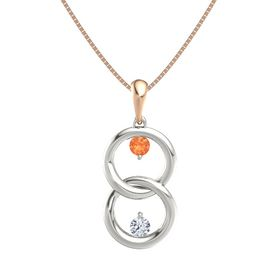 14K White Gold Pendant with Fire Opal and Diamond
