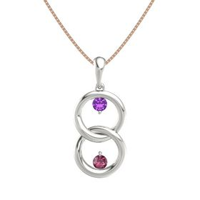 14K White Gold Pendant with Amethyst and Rhodolite Garnet