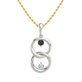 14K White Gold Pendant with Black Diamond and Diamond