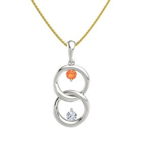 14K White Gold Necklace with Fire Opal & Diamond