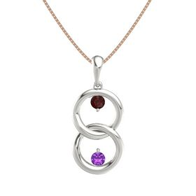 14K White Gold Pendant with Red Garnet and Amethyst