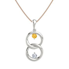 14K White Gold Pendant with Citrine and Diamond