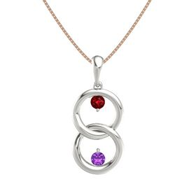 14K White Gold Pendant with Ruby and Amethyst