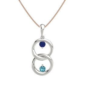 14K White Gold Pendant with Blue Sapphire and London Blue Topaz