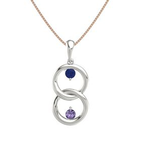 14K White Gold Pendant with Blue Sapphire and Iolite