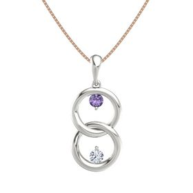 14K White Gold Pendant with Iolite and Diamond
