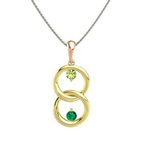 14K Yellow Gold Pendant with Peridot and Emerald