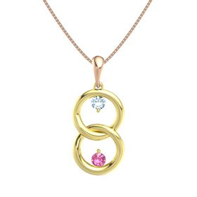 14K Yellow Gold Pendant with Aquamarine and Pink Tourmaline