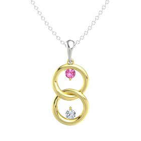 14K Yellow Gold Pendant with Pink Tourmaline and Diamond