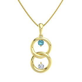 14K Yellow Gold Pendant with London Blue Topaz and Diamond