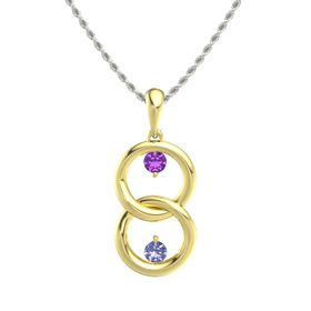 14K Yellow Gold Pendant with Amethyst and Tanzanite