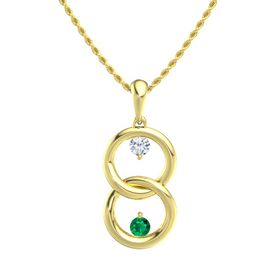 14K Yellow Gold Necklace with Diamond & Emerald