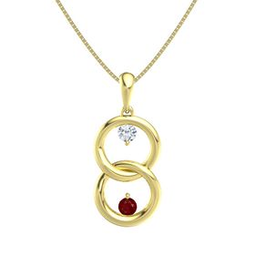 14K Yellow Gold Pendant with Diamond and Ruby