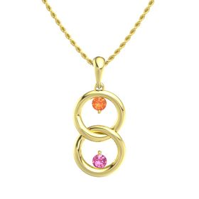 14K Yellow Gold Necklace with Fire Opal & Pink Tourmaline