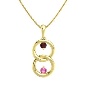 14K Yellow Gold Pendant with Red Garnet and Pink Tourmaline