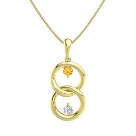 14K Yellow Gold Pendant with Citrine and White Sapphire