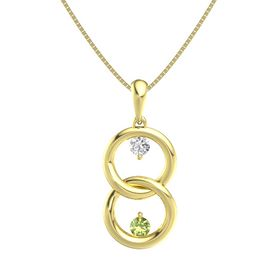 14K Yellow Gold Pendant with White Sapphire and Peridot