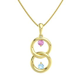 14K Yellow Gold Necklace with Pink Sapphire & Blue Topaz