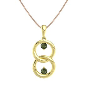 14K Yellow Gold Necklace with Green Tourmaline