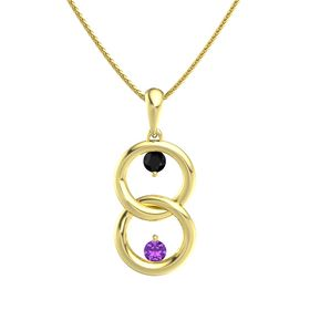 14K Yellow Gold Necklace with Black Onyx & Amethyst