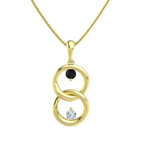 14K Yellow Gold Pendant with Black Onyx and Diamond