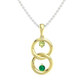 14K Yellow Gold Necklace with Peridot & Emerald