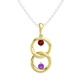 14K Yellow Gold Pendant with Ruby and Amethyst