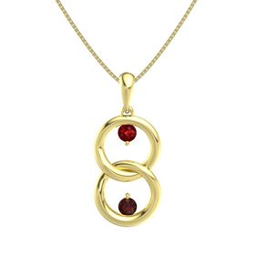 14K Yellow Gold Pendant with Ruby and Red Garnet