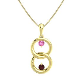 14K Yellow Gold Pendant with Pink Tourmaline and Red Garnet