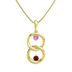 14K Yellow Gold Necklace with Pink Tourmaline & Ruby