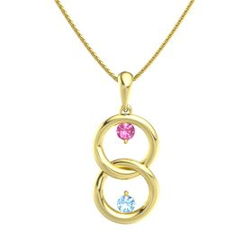 14K Yellow Gold Necklace with Pink Tourmaline & Blue Topaz