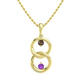 14K Yellow Gold Pendant with Smoky Quartz and Amethyst