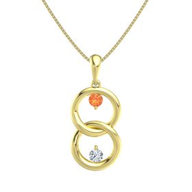 14K Yellow Gold Pendant with Fire Opal and Diamond