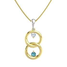 14K Yellow Gold Necklace with Diamond & London Blue Topaz