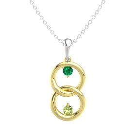 14K Yellow Gold Pendant with Emerald and Peridot