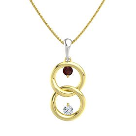 14K Yellow Gold Necklace with Red Garnet & Diamond