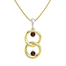 14K Yellow Gold Pendant with Red Garnet