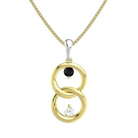 14K Yellow Gold Pendant with Black Onyx and Rock Crystal