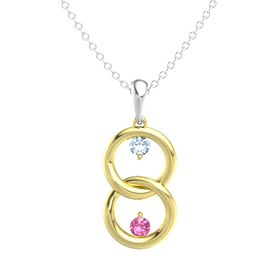 14K Yellow Gold Necklace with Aquamarine & Pink Tourmaline