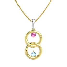 14K Yellow Gold Pendant with Pink Tourmaline and Blue Topaz