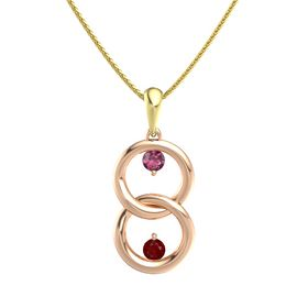 18K Rose Gold Pendant with Rhodolite Garnet and Ruby