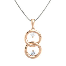 18K Rose Gold Pendant with Rock Crystal and Diamond