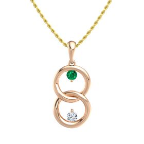 18K Rose Gold Necklace with Emerald & Diamond