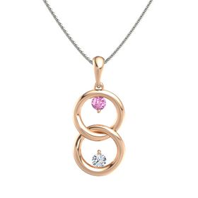 18K Rose Gold Pendant with Pink Sapphire and Diamond