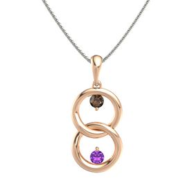 18K Rose Gold Necklace with Smoky Quartz & Amethyst