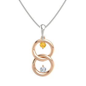 18K Rose Gold Pendant with Citrine and Diamond