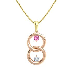 18K Rose Gold Pendant with Pink Tourmaline and Diamond